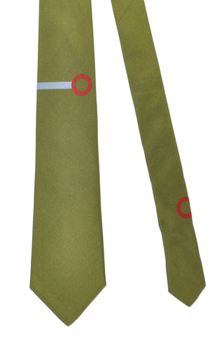 Gene Meyer Tie Olive Green Red Sky Blue Circle
