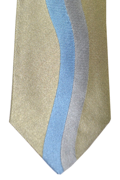 Gene Meyer Tie Dark Gold Blue Silver