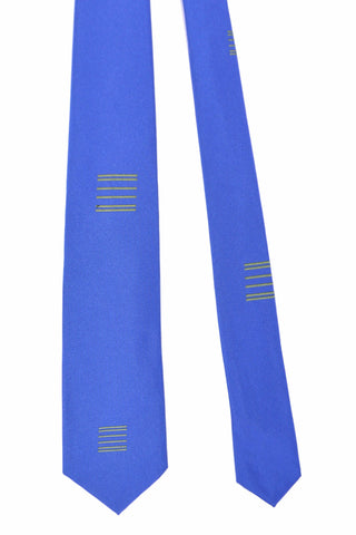 Gene Meyer Tie Royal Blue Lime Stripes