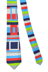 Gene Meyer Tie Multi Colored Geometric