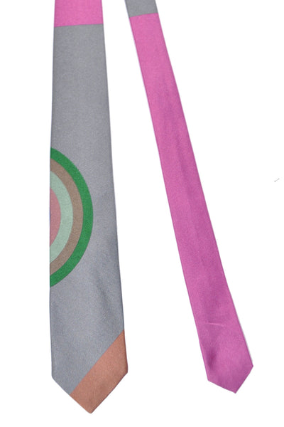 Gene Meyer Tie Silver Multi Colored Circle