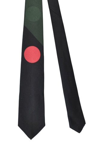 Gene Meyer Tie Black Green Red Circle