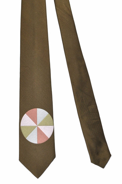 Gene Meyer Tie Light Green Brown Circle