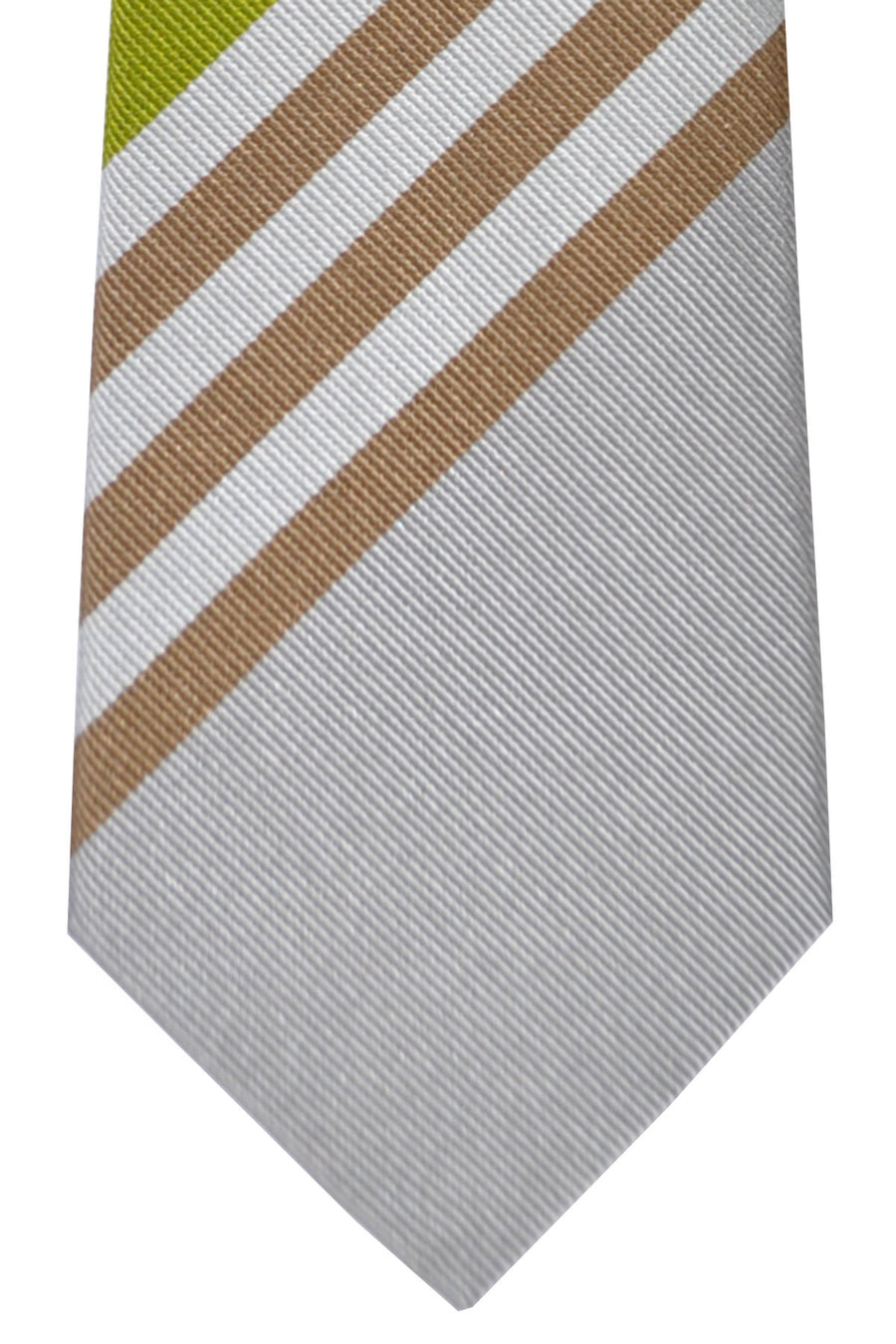 Gene Meyer Tie Silver Lime Stripes