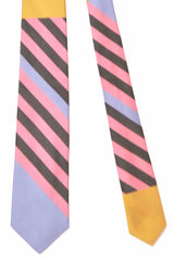 Gene Meyer Tie Pink Brown Lilac Orange Design