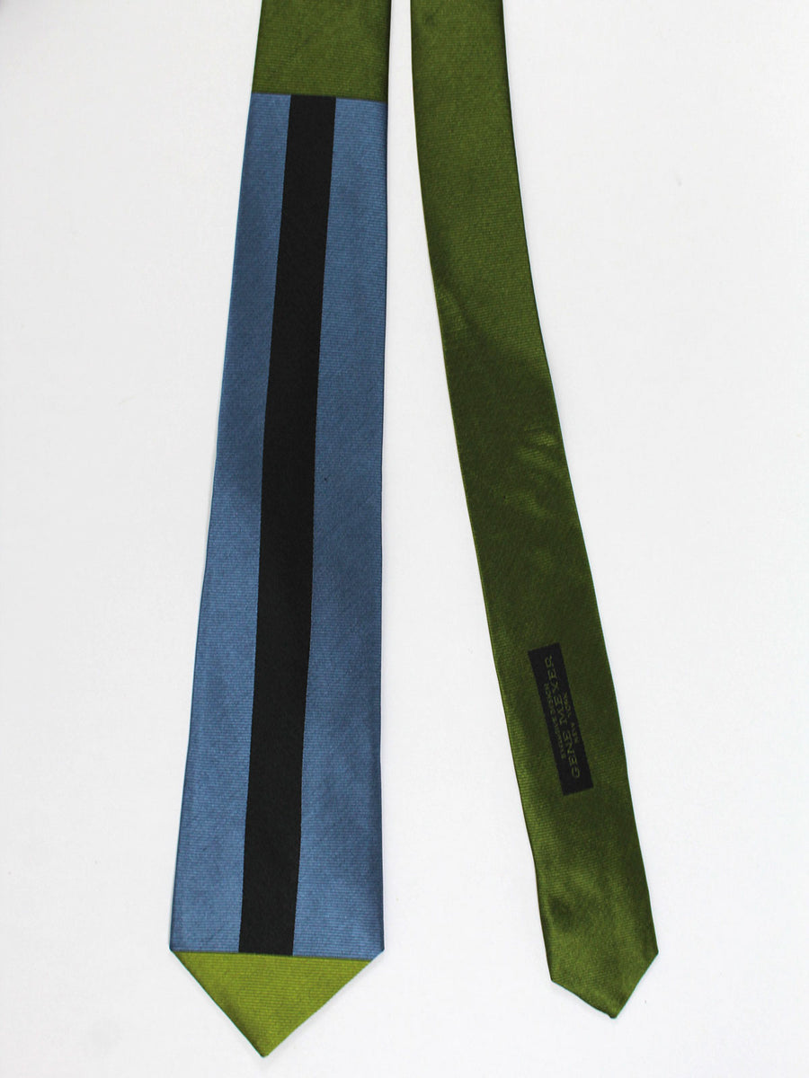 Gene Meyer Tie Olive Blue Gray Black Design