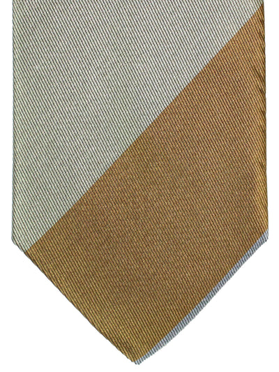 Gene Meyer Silk Tie Gray Brown Pink Stripes Design