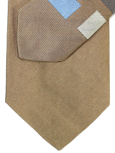 Gene Meyer Silk Tie Brown Geometric Design