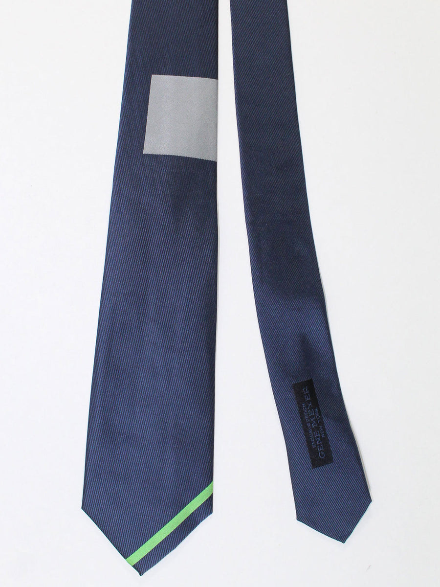 Gene Meyer Silk Tie Lapis Gray Green Stripe