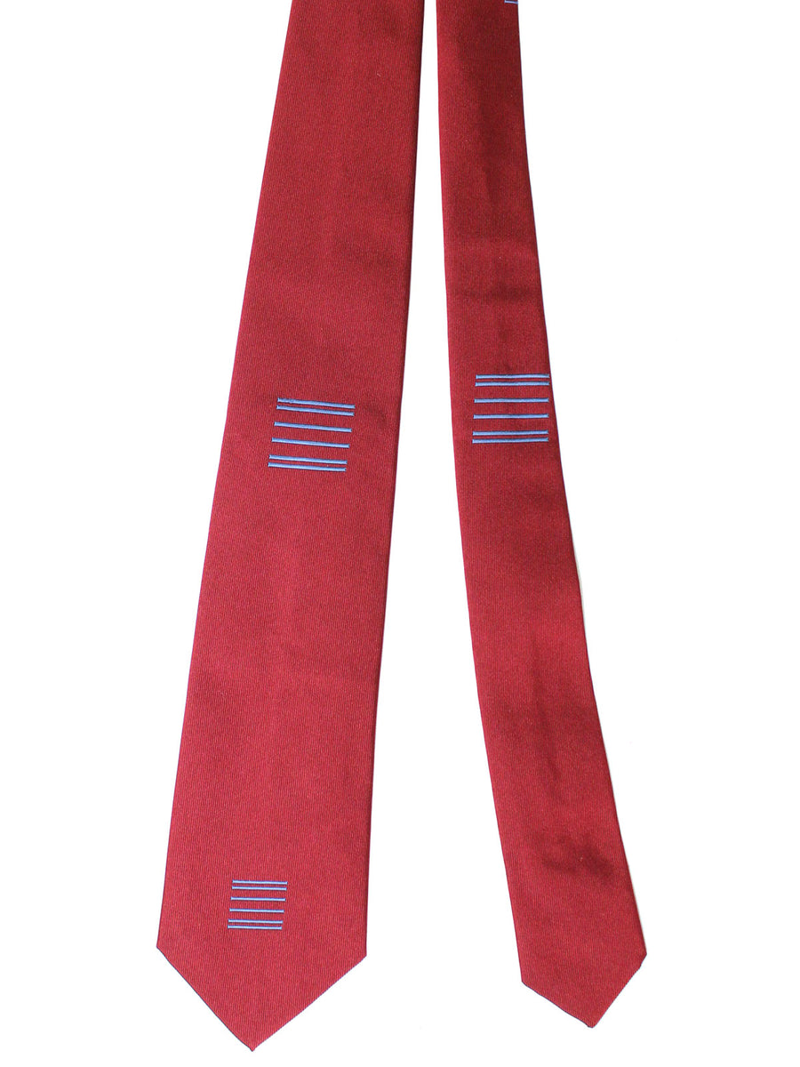 Gene Meyer Silk Tie Maroon Blue Design
