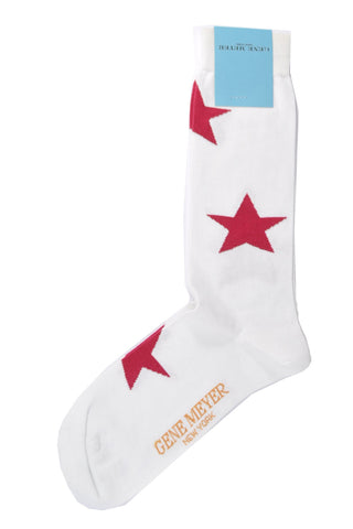 Gene Meyer Socks White Red Stars
