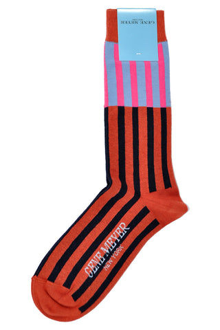 Gene Meyer Socks Sky Blue Pink Rust Orange Espresso Stripes