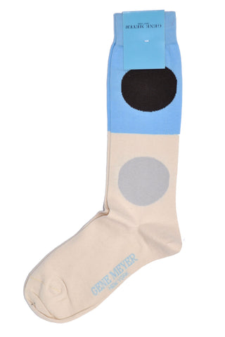 Gene Meyer Socks Blue White Large Dots