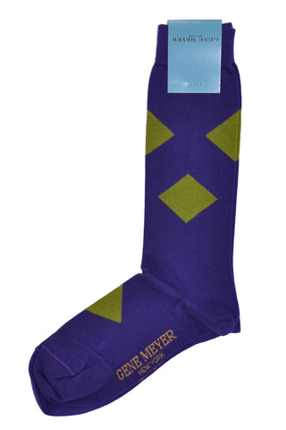 Gene Meyer Socks Purple Olive Diamonds - Men Designer Socks