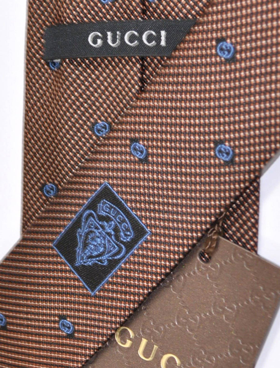 Gucci Tie Brown Navy GG SALE