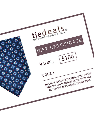 GIFT CARD $100 TIEDEALS GIFT CERTIFICATE