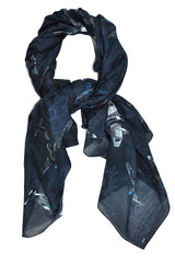 Givenchy Cotton Scarf Men Dark Blue Gray Airplanes Design SALE