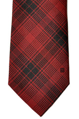 Givenchy Narrow Tie Black Red Plaid Stripes
