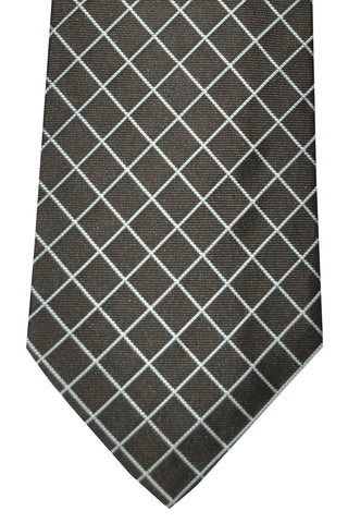Givenchy Tie Brown Silver Windowpane SALE