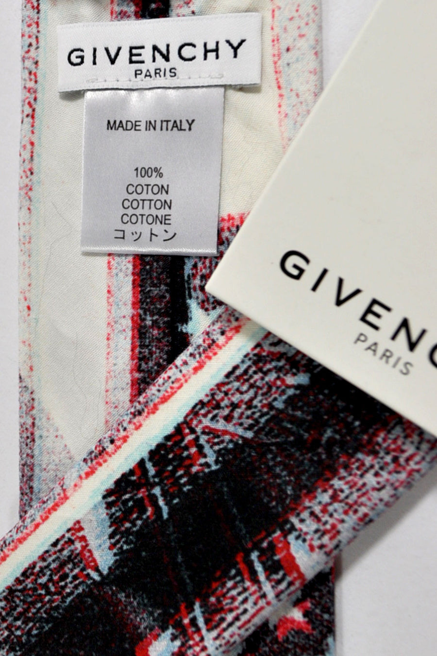 Givenchy Tie White Navy Flag - Narrow Cut