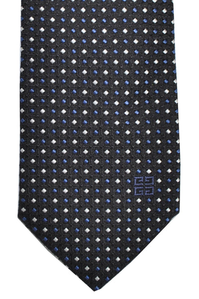 Givenchy Tie Black Dark Blue Silver Geometric Narrow Cut