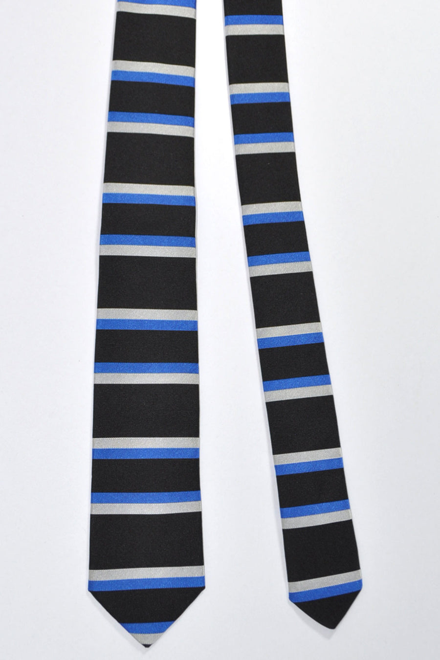 Givenchy Tie Black Royal Blue Silver Horizontal Stripes Narrow Cut