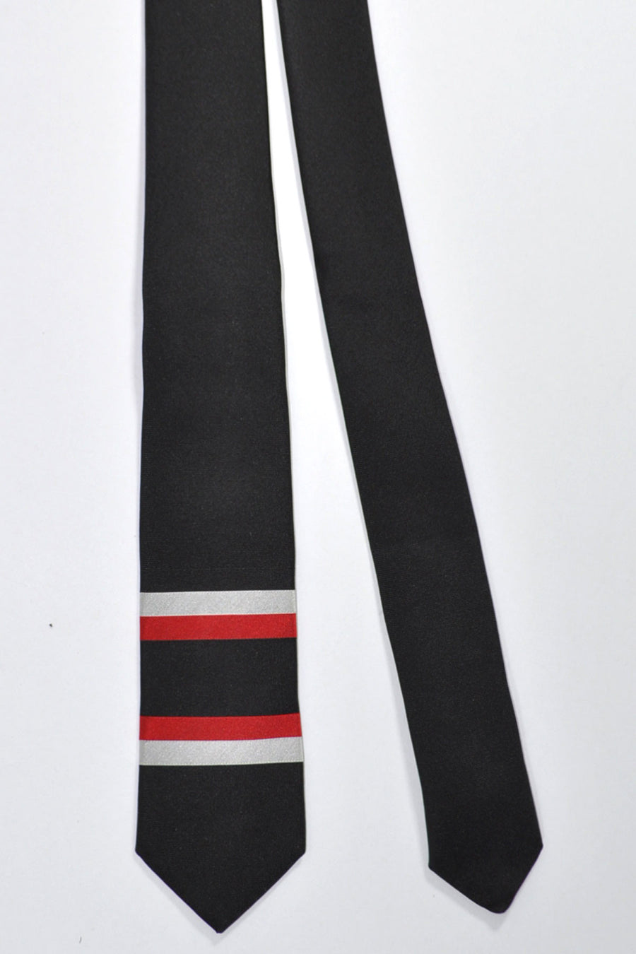 Givenchy Tie Black Red Silver Horizontal Stripes - Narrow Cut