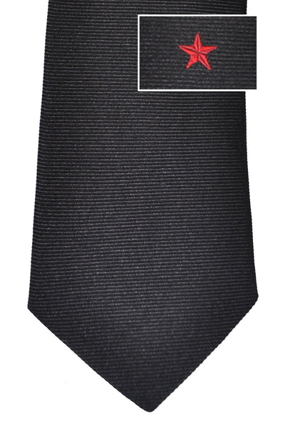 Givenchy Tie Black Red Star Grosgrain Design - Narrow Cut