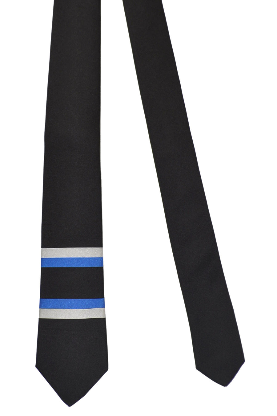 Givenchy Tie Black Royal Blue Silver Stripes Design - Narrow Cut