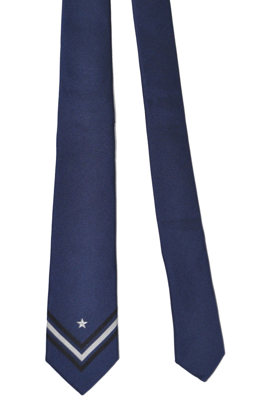 Givenchy Tie Dark Blue Silver Black Star Grosgrain Design - Narrow Cut