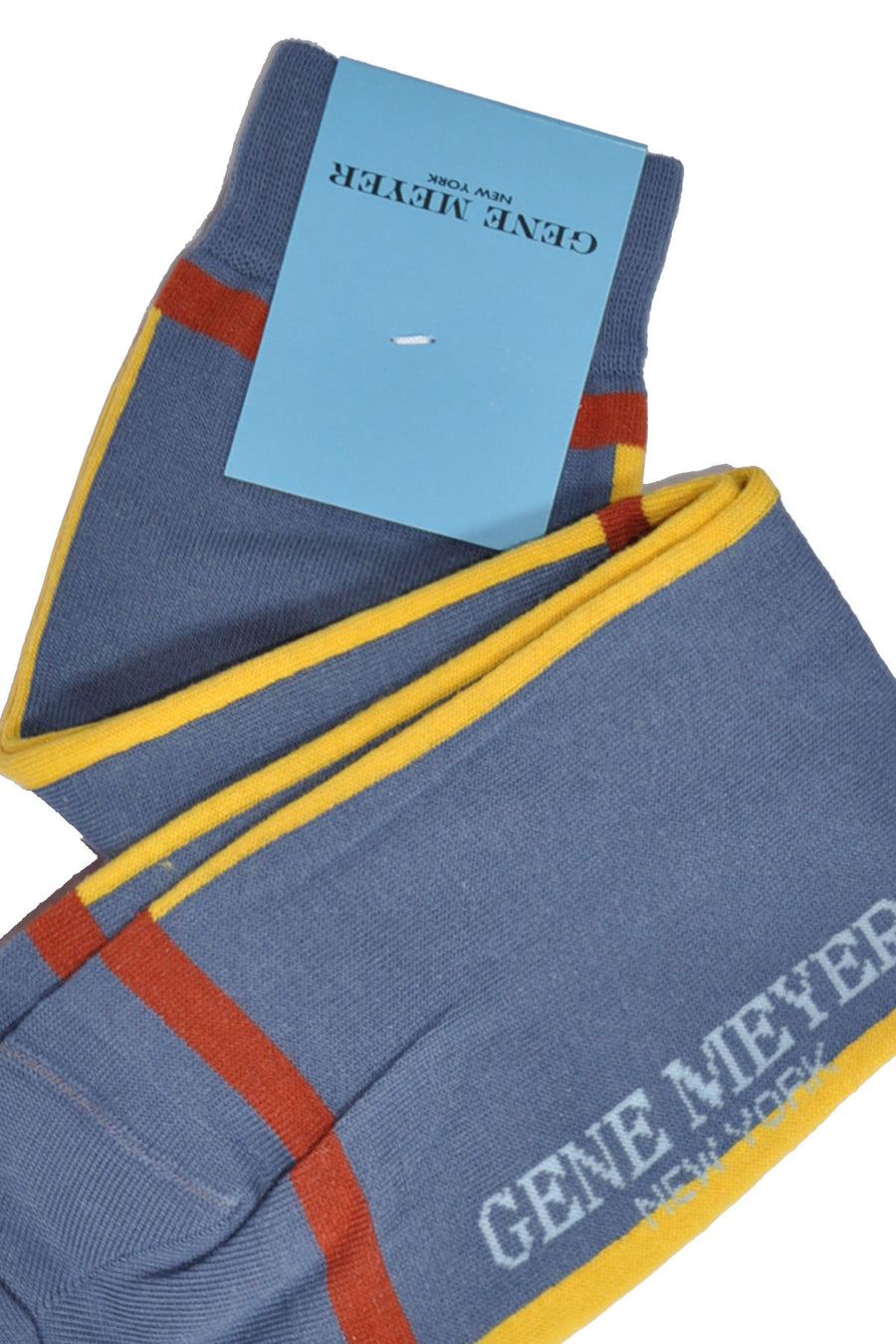 Gene Meyer Socks Gray-Blue Yellow Stripe