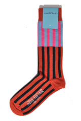 Gene Meyer Socks Pink Sky Blue Orange Stripes