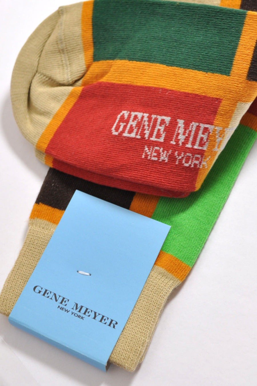 Gene Meyer Socks Red Green Rectangles - Made In Italy