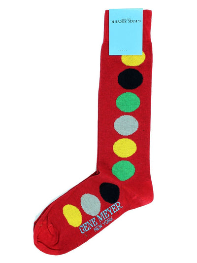 Gene Meyer Men Socks Red Green Yellow Dots