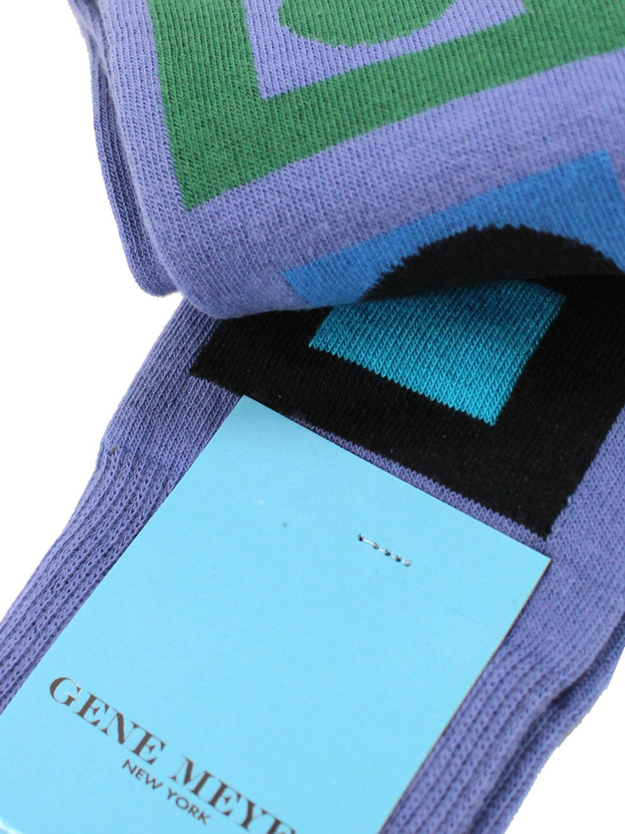 Gene Meyer Men Socks Lavender Green Aqua Dots  Rectangles