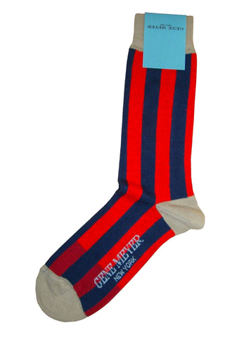 Gene Meyer Socks Red Navy Stripes SALE