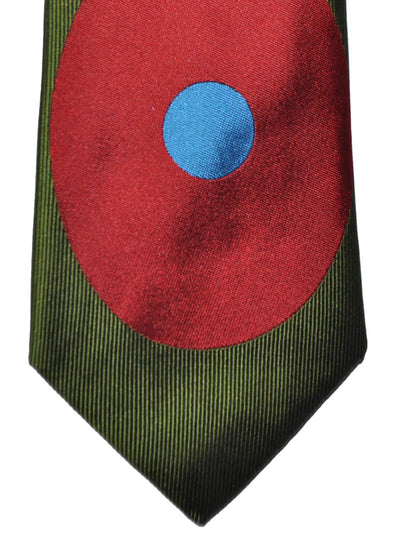 Gene Meyer Tie Olive Green Pink Red Dot & Diamond SALE