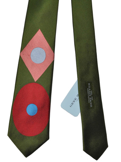Gene Meyer Tie Olive Green Pink Red Dot & Diamond