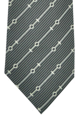 Gucci Tie Gray Black Silver Stripes Design