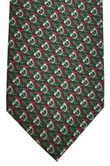 Gucci Silk Tie Black Green Red Geometric
