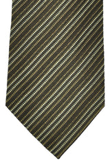 Gucci Tie Brown Cream Silver Stripes