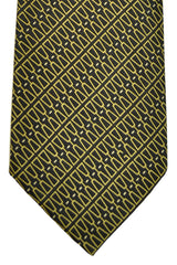 Gucci Tie Black Lime White Geometric