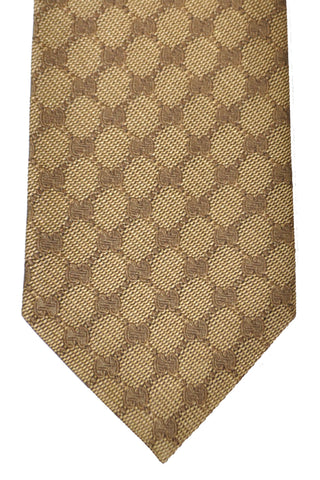 Gucci Tie Taupe Gold GG Design - New Collection