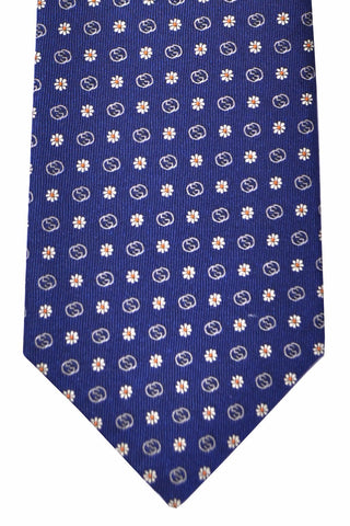Gucci Tie Navy Flowers Logo Print - New Collection