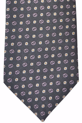Gucci Tie Gray Pink Flowers GG Logo Design FINAL SALE