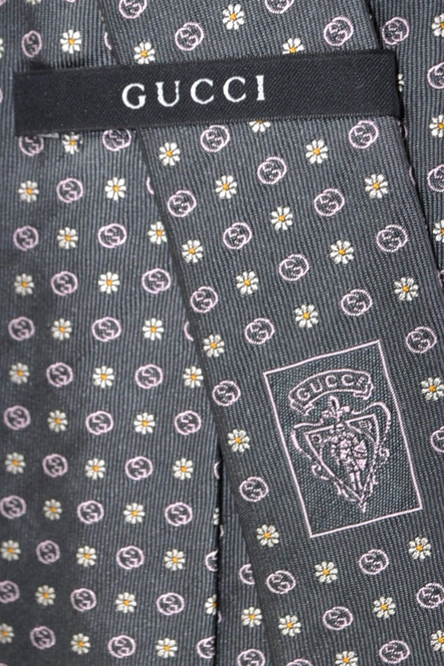 Gucci Tie Gray Pink Floral - New Collection
