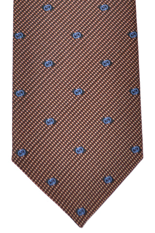 Gucci Tie Brown Navy Geometric