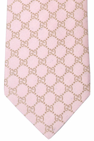 Gucci Tie Pink Gold GG Pattern New