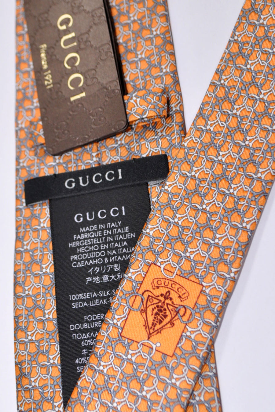 Gucci Tie Orange Gray Geometric New 2015 / 2016 Collection