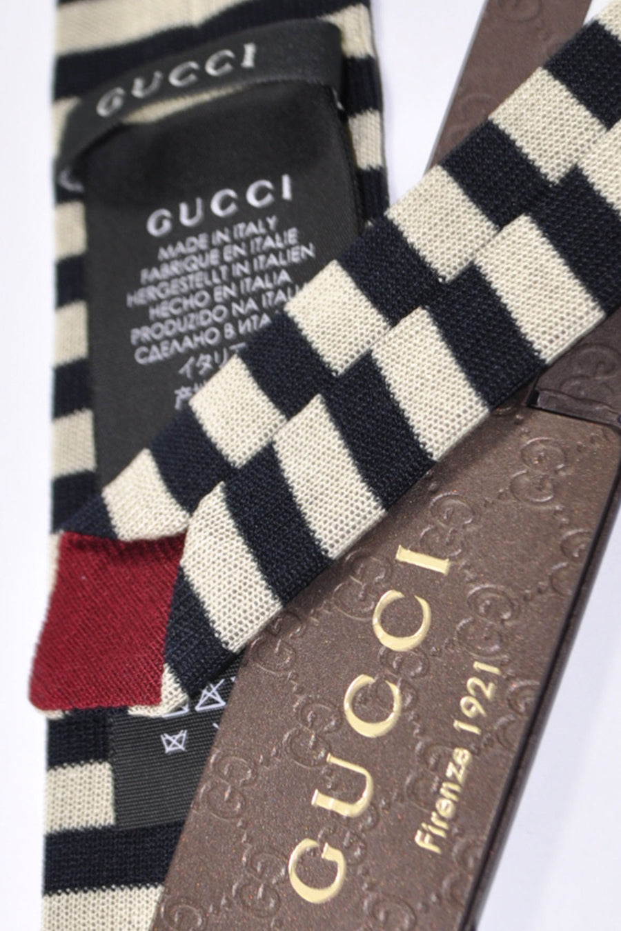 Gucci Tie White Silver Black Stripes New 2015 / 2016 Collection